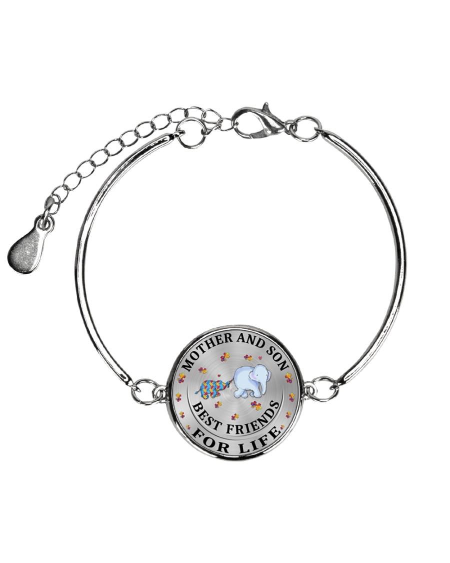 Mother and Son Best Friends For Life Metallic Circle Bracelet