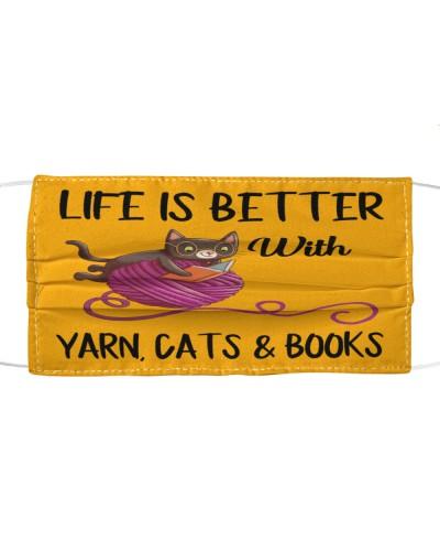 Cats books yarn happy life