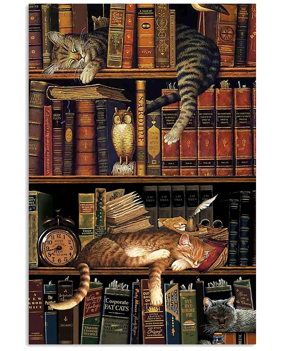 Cat Book Bookshelf 11x17 Poster