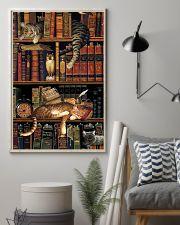 Cat Book Bookshelf 11x17 Poster lifestyle-poster-1
