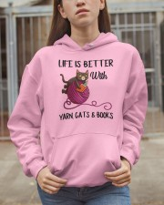 YARN CAT BOOK LIFE IS BETTER- BEST GIFT Hooded Sweatshirt apparel-hooded-sweatshirt-lifestyle-07