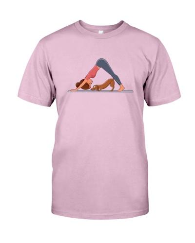 Girl doing yoga pose Dachshund
