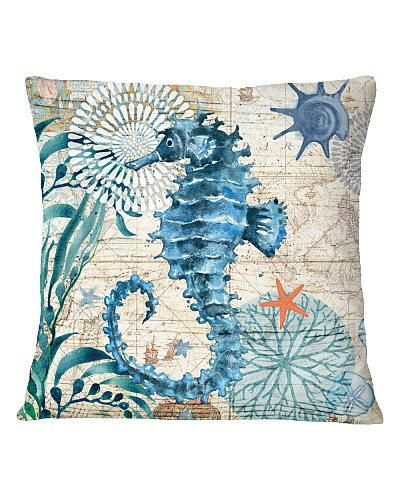 Letibee Sea Horse Nautical Pillow