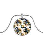 Witchy Sunflower Skull Pattern Metallic Circle Necklace front