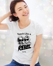 Teach Like a Rebel -- Curio Learning Premium Fit Ladies Tee lifestyle-holiday-womenscrewneck-front-1