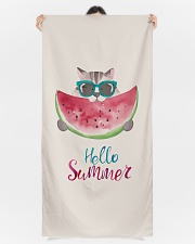 Hello summer - cat watermelon Premium Beach Towel aos-beach-towels-lifestyle-front-09