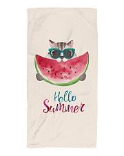 Hello summer - cat watermelon Beach Towel tile