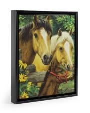 Love Horse Floating Framed Canvas Prints Black tile