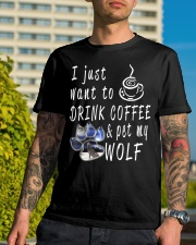 Drink Coffee and pet my wolf Classic T-Shirt lifestyle-mens-crewneck-front-8