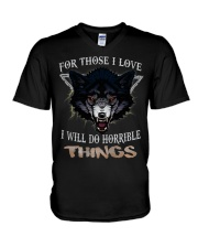 Love Wolf tee V-Neck T-Shirt tile