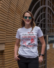 Never Underestimate a Dog Groomer Ladies T-Shirt lifestyle-women-crewneck-front-2