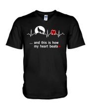 Wolf my heart beats tee V-Neck T-Shirt thumbnail