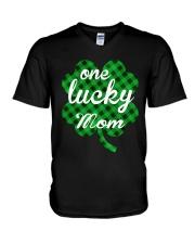 One lucky mom V-Neck T-Shirt thumbnail
