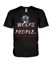 Wolfs make me happy V-Neck T-Shirt thumbnail