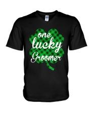 One Lucky Groomer  V-Neck T-Shirt thumbnail