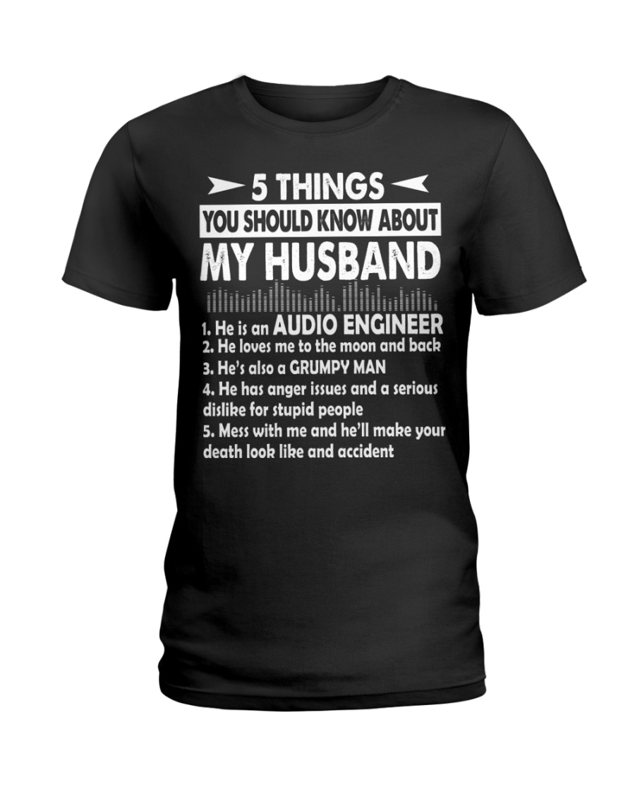 My husband is an Audio Engineer Ladies T-Shirt