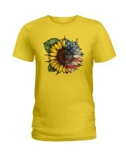 Sunflower America flag Ladies T-Shirt thumbnail