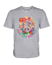 Peace love happiness V-Neck T-Shirt tile