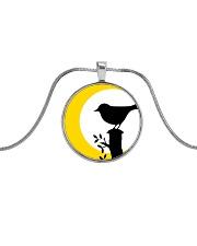 Yellow Sun Bird Metallic Circle Necklace thumbnail