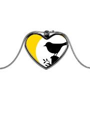 Yellow Sun Bird Metallic Heart Necklace front