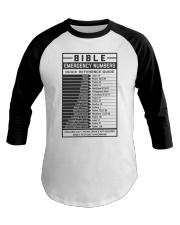 Bible Emergency Numbers Baseball Tee thumbnail