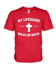 My Lifeguard Walks On Water V-Neck T-Shirt thumbnail