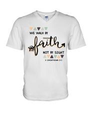We Walk By Faith Not By Sight V-Neck T-Shirt thumbnail