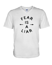 Fear Is A Liar V-Neck T-Shirt thumbnail