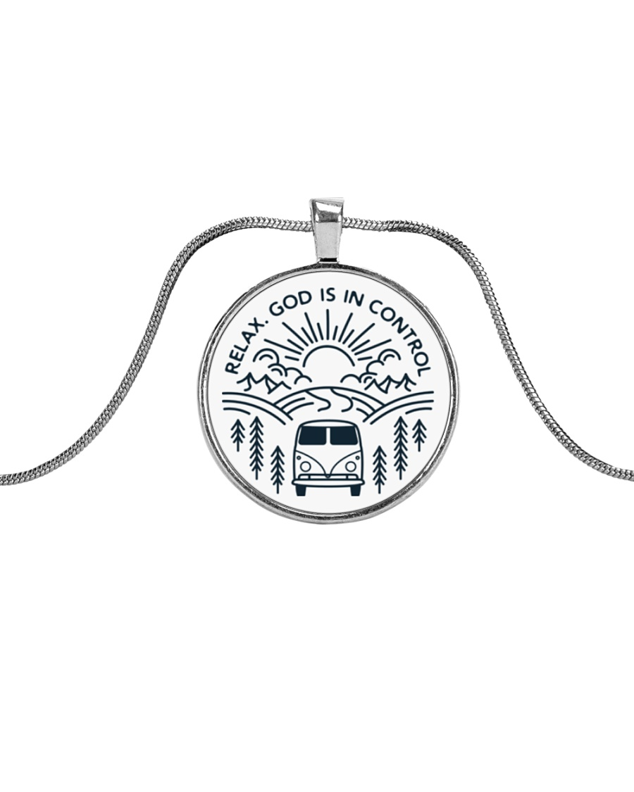 Relax God Is In Control Metallic Circle Necklace