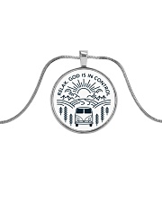 Relax God Is In Control Metallic Circle Necklace front