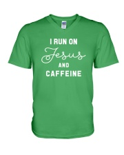 I Run On Jesus And Caffeine V-Neck T-Shirt thumbnail