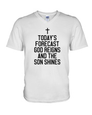 Today's Forecast God Reigns and The Son Shines V-Neck T-Shirt thumbnail