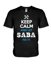 Keep calm and let SABA fix it V-Neck T-Shirt thumbnail