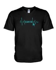 Rock Climbing Heartbeat T-Shirt V-Neck T-Shirt thumbnail