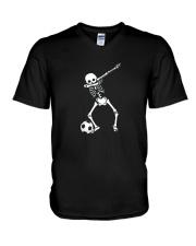 HALLOWEEN DABBING SKELETON SOCCER T-SHIRT V-Neck T-Shirt thumbnail
