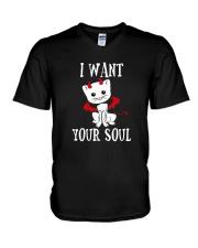 HALLOWEEN DEVIL CAT T-SHIRT V-Neck T-Shirt thumbnail