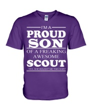 I'm A Proud Son Of A Freaking Awesome Scout V-Neck T-Shirt front