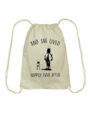 SHE LIVED HAPPILY EVER AFTER Drawstring Bag thumbnail