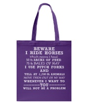 BE WARE I RIDE HORSE Tote Bag thumbnail