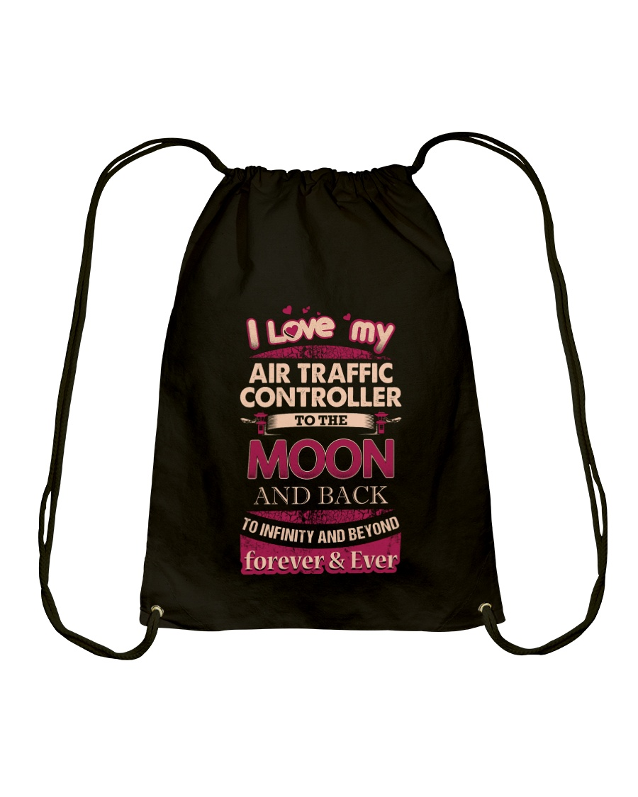 I love my Air Traffic Controller  to the Moon Drawstring Bag