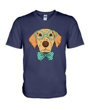 Cool Hipster Dog Shirt V-Neck T-Shirt thumbnail