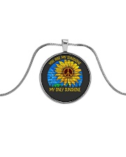 Imagine all the people living life in peace Metallic Circle Necklace thumbnail