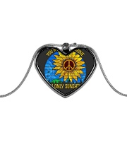 Imagine all the people living life in peace Metallic Heart Necklace thumbnail