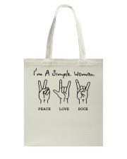 PEACE LOVE ROCK Tote Bag thumbnail