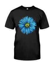 Hippie Peace Symbol With Flowers Classic T-Shirt front
