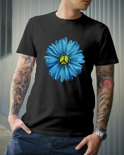 Hippie Peace Symbol With Flowers Classic T-Shirt lifestyle-mens-crewneck-front-6