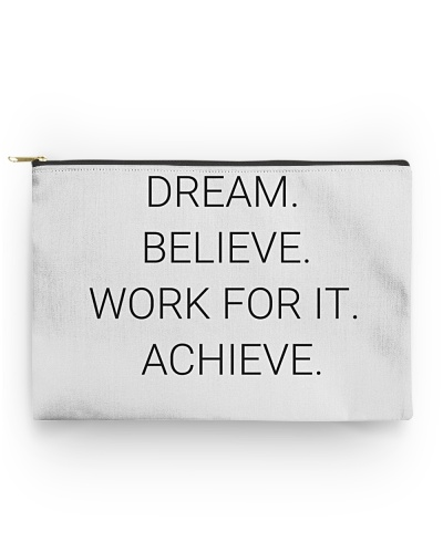 Pouch with motivational text