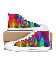 RAINBOW CANDY SPIRAL Men's High Top White Shoes thumbnail