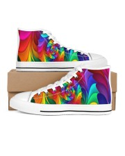 RAINBOW CANDY SPIRAL Women's High Top White Shoes thumbnail