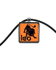 Leo Horoscope Cord Rectangle Necklace front